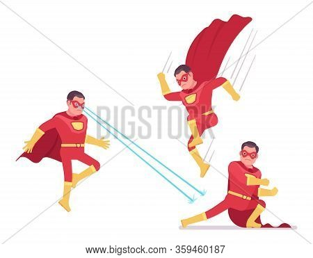 Male Super Hero In Classic Red Costume, Attack Poses. Heroic Strong Warrior, Superpower Man With Sup