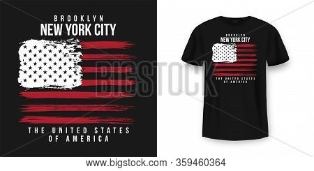 T-shirt Graphic Design With American Flag And Grunge Texture. New York City Typography T Shirt And A