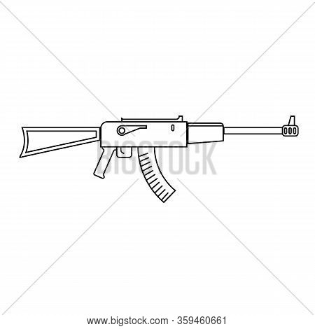 Icon Of Assault Riffle. Black Isolated Line Vector Object On White Background.