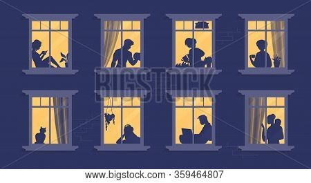Neighbors In Windows. Cartoon Characters At Their Apartment Reading Book, Cooking, Watching Tv And S