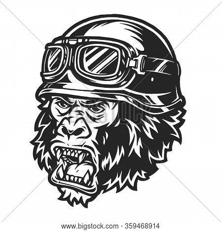Vintage Ferocious Gorilla Biker Head In Motorcycle Helmet And Goggles Isolated Vector Illustration