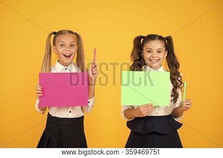 Got Idea. Small Cute Kids Smiling Of Genius Idea. Happy Girls Holding Paper Sheets For Writing Idea