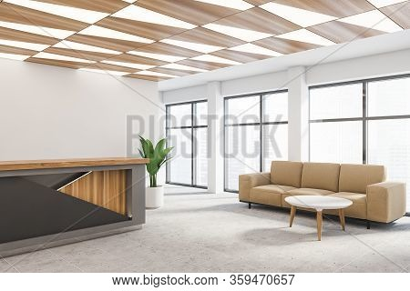Interior Of Modern Corporate Office Waiting Room With White Walls, Tiled Floor, Gray And Wooden Rece