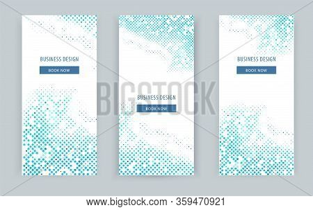 Business Blue Halt Tone Banners On White Background. Pattern For Business Template.