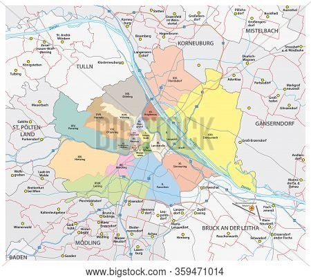 Road And Administrative Vector Map Of The City Of Vienna And Its Surrounding Communities