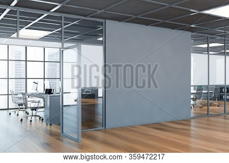Interior Of Modern Business Center Hall With Grey And Glass Walls, Wooden Floor, Open Space Office A