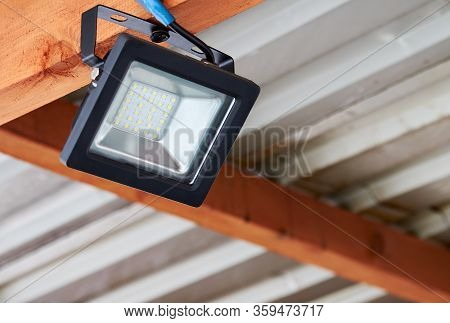Led Flood Light, Spot Light On The Top Of The Roof. Powerful Construction Lighting Floodlight A Lant