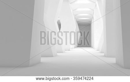 Abstract White Interior, Empty Corridor With Columns, Contemporary Architectural Background, 3d Rend