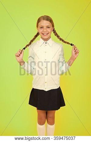 Schoolgirl Happy Smiling Pupil Long Hair. Beginning Of Academic Year. Educational Activity. Homescho