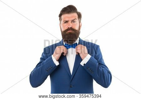 Man In Suit Fixing Bow Tie. Portrait Of Handsome Man In Suit. He Will Melt Your Heart. Man In Tuxedo