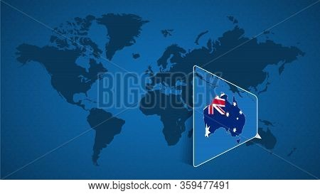 Detailed World Map With Pinned Enlarged Map Of Australia And Neighboring Countries. Australia Flag A