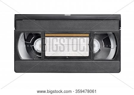 Black Vhs Video Tape Cassette Isolated On White Background