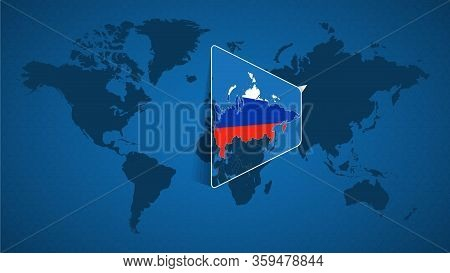 Detailed World Map With Pinned Enlarged Map Of Russia And Neighboring Countries. Russia Flag And Map