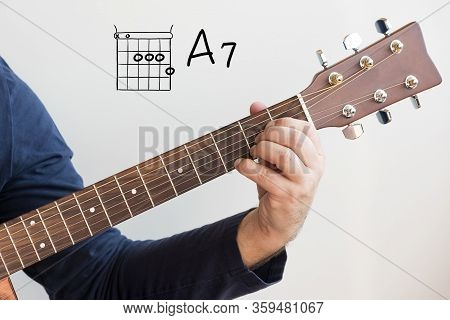 Learn Guitar - Man In A Dark Blue Shirt Playing Guitar Chords Displayed On Whiteboard, Chord A7
