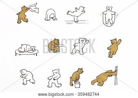 Drawing Of Funny Bears That Make Different Movements And Actions On A White Background Isolated.