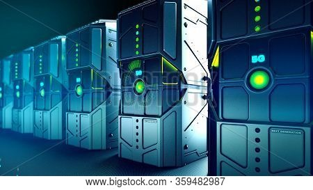 3d Illustration Military Look Rugged Servers And Big Data Transmission, 5g Network, Network Technolo