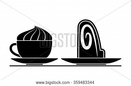 Vector Cup Of Coffee With Whipped Cream And Slice Of Bundt Cake On Plate Isolated On White Backgroun