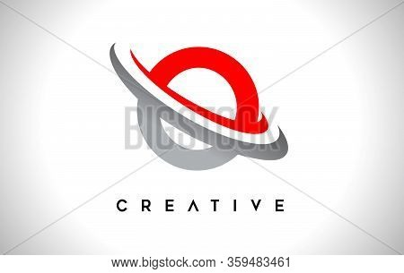 O, Swoosh, Red, Gray, Logo, Letter, Design, Creative, Typography, Logo, Corporate, Business, Concept