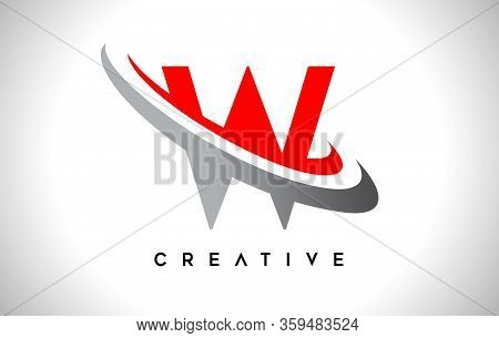 W, Swoosh, Red, Gray, Logo, Letter, Design, Creative, Typography, Logo, Corporate, Business, Concept