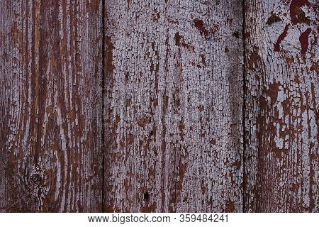 Old Red Wooden Texured Door Surface Closeup. Relief On Surface. Stock Photo Of Old Wooden Door Patte