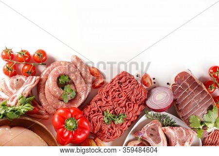 assorted of raw meats- minced beef, beef, chicken, lamb chop, roast beef, sausage