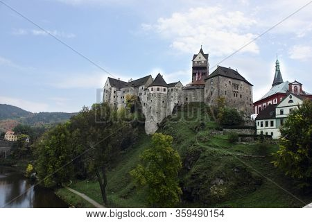 Prague, Czech Republic, September 2017: Lockett Castle On The River Eger. Romantic Castle With Color