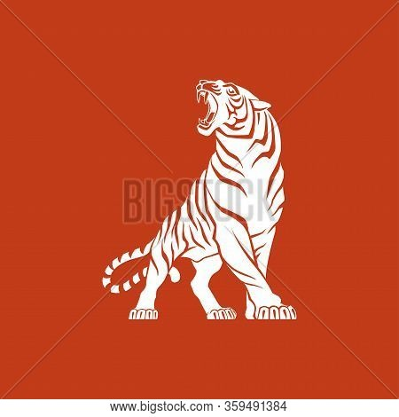 Tiger Logo Sign Emblem Vector Illustration White