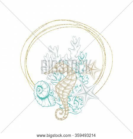 Seahorse Sketch In Gold Geometric Crystal Line Frame, Vector Arrangement Design. Ocean Seashell And