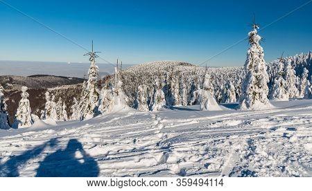 Winter Scenery Bellow Lysa Hora Hill In Moravskoslezske Beskydy Mountains In Czech Republic With Hil