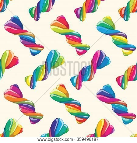 Vector Seamless Pattern Of Twisted Lollies, Colorful Candy Background