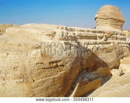 Ancient Great Sphinx Of Giza From Back Side. Back Side View Point.