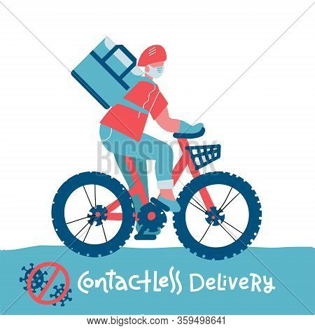 Contactless Food Delivery Rider Vector Icon. No-contact Delivery Service Online Takeout Orders Carto