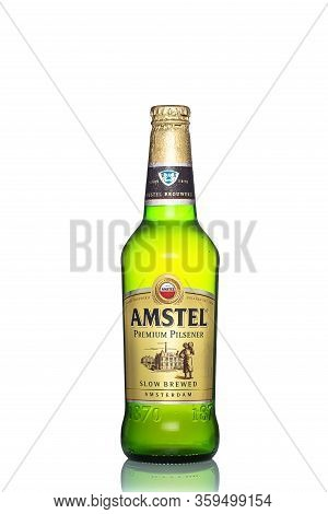 St. Petersburg, Russia, March 30, 2020. Amstel Premium Pilsener Beer, Glass Bottle, Isolated On Whit