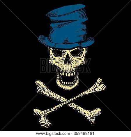 Hand Drawn Skull Of A Dead Man In A Blue Crumpled Top Hat, With Crossbones, On A Black Background. V
