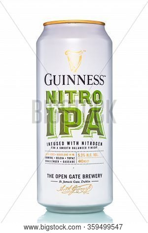 St. Petersburg, Russia, March 30, 2020. Guinness Nitro Ipa Beer, With Drops Of Water, Metal Can, Iso