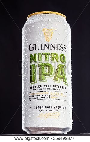 St. Petersburg, Russia, March 30, 2020. Guinness Nitro Ipa Beer, With Drops Of Water, Metal Can, On