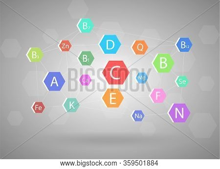 The Complex Of Vitamins And Minerals, Different Vitamins Concept On Gray Background.