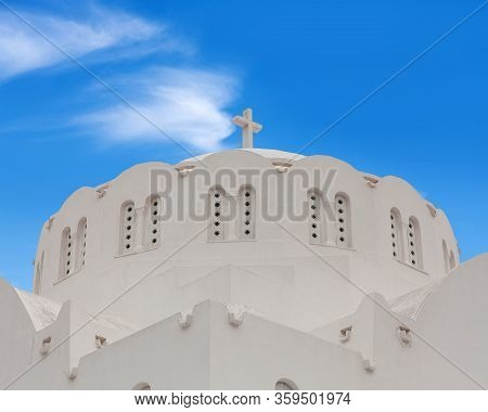 Orthodox Metropolitan Cathedral Church Of Candlemas Of The Lord In Fira, Santorini Island, Cyclades,