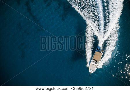 Speed boat in mediterranean sea, aerial view