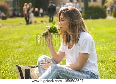 Woman Holding Lovely Bouquet Of Of Lilly Of Valley Flowers In The Sunny Warm Day, Girl With Flowers