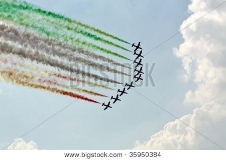 Demonstrative Performance Of Italian Aerobatic Team At The Air Show