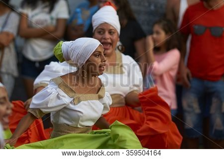 Arica, Chile - February 11, 2017: Group Of Dancers Of Africa Descent (afrodescendiente) Performing A