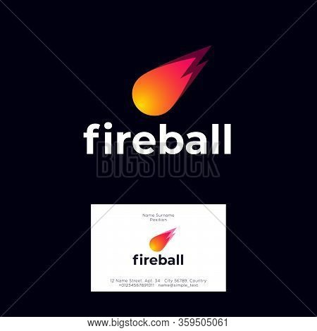 Fireball Logo. Letters And Icon. Bright Meteor On A Dark Background. Internet, Games, Marketing, Del