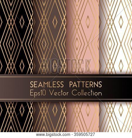 Art Deco Classic Seamless Patterns Set Vector Graphic Design With Rhombus Shapes And Thin Gold Lines