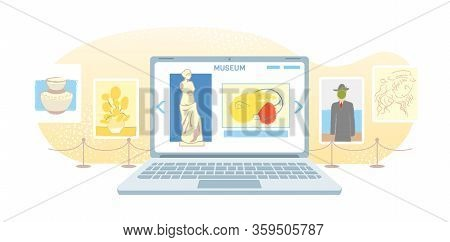 Online Art Gallery Banner. Virtual Museum In Modern Laptop Isolated On White Background. Online Exhi