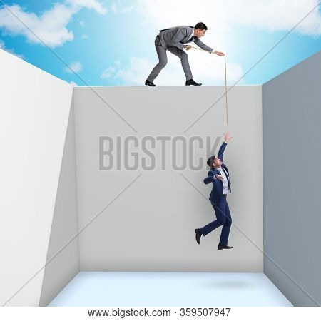 Businessman helping colleague to escape from problems