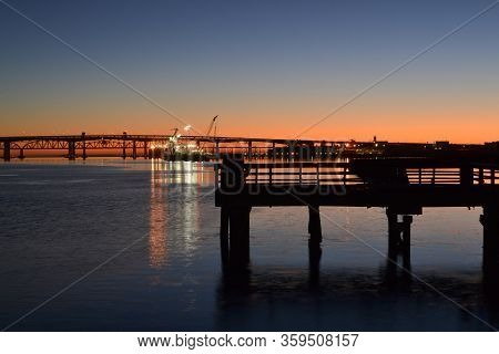 Sunrise At The Waterfront Of Martinez, California, Usa, Featuring The Benicia-martinez Bridge And A