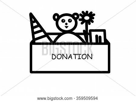 Box With Toys For Donation. Illustration For The Theme Do Good, Donations, Charity, Help To Orphanag