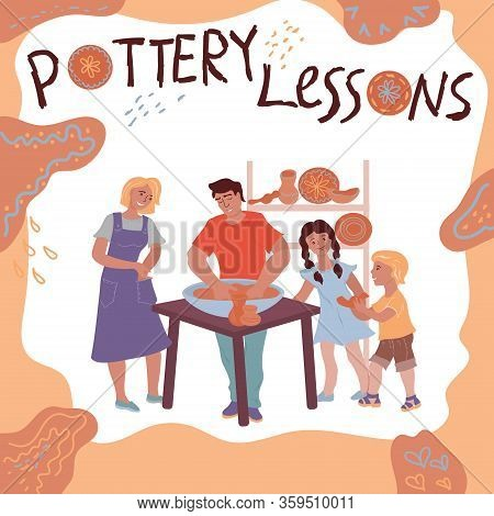 Ceramist At Work Teaches Children Flat Vector Illustration Isolated On White.