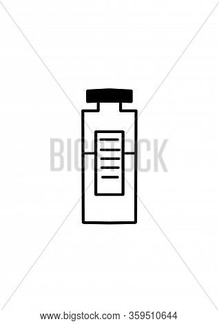 Bottle With Medicine For Vaccination Against Virus Drawing. Illustration On The Theme Of Health And